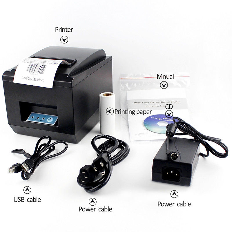 Desktop Restaurant Supermarket 80mm Receipt Printer Low Noise Easy Use